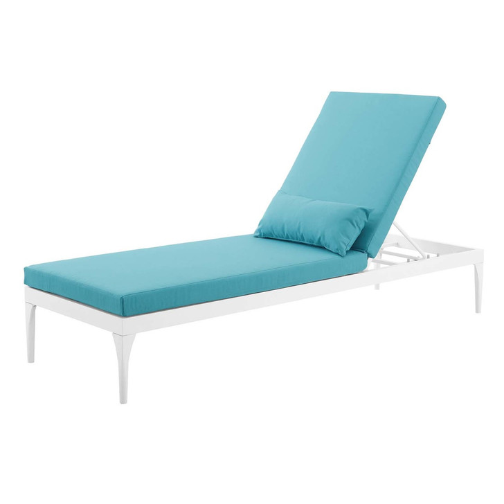 Perspective Cushion Outdoor Patio Chaise Lounge Chair, Fabric Metal Steel, White Blue 15375