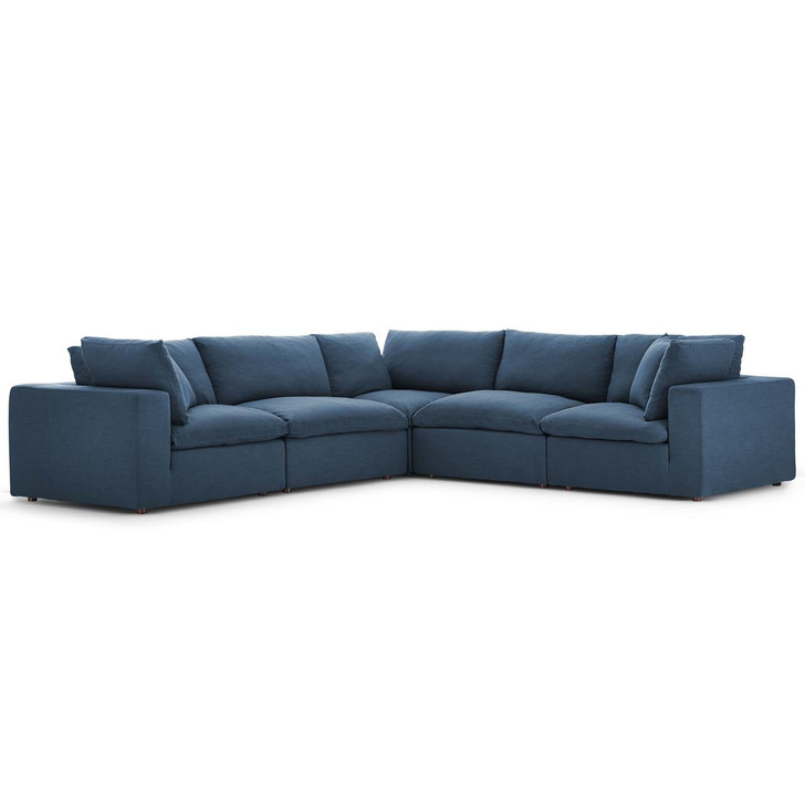 Commix Down Filled Overstuffed 5 Piece Sectional Sofa Set, Fabric, Navy Blue 15740
