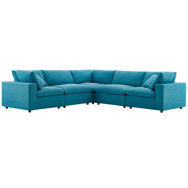 Commix Down Filled Overstuffed 5 Piece Sectional Sofa Set, Fabric, Aqua Blue 15743