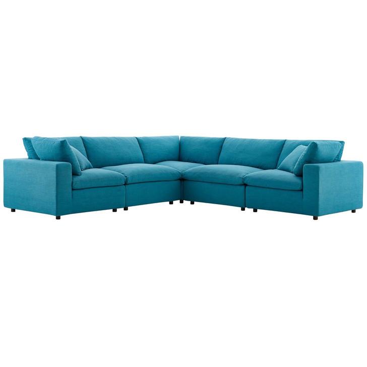 Commix Down Filled Overstuffed 5 Piece Sectional Sofa Set, Fabric, Aqua Blue 15743