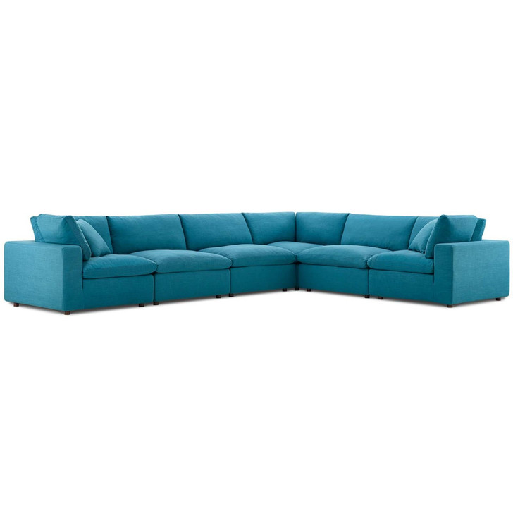 Commix Down Filled Overstuffed 6 Piece Sectional Sofa Set, Fabric, Aqua Blue 15752