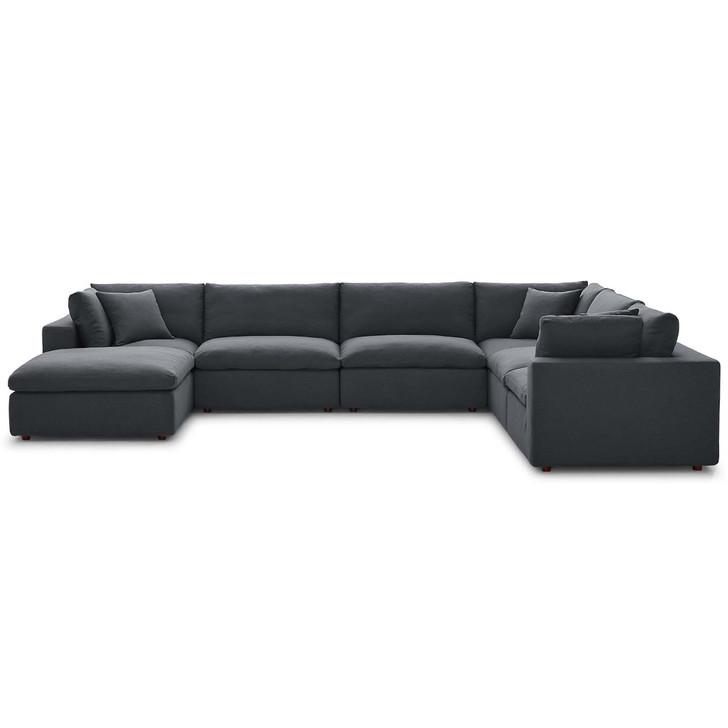Commix Down Filled Overstuffed 7 Piece Sectional Sofa Set, Fabric, Grey Gray 15763