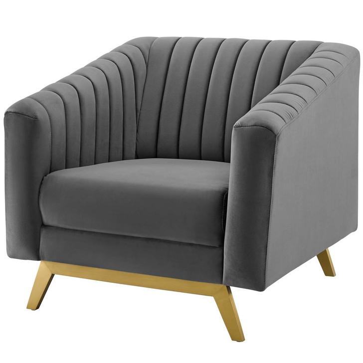 Valiant Vertical Channel Tufted Performance Velvet Armchair, Velvet Fabric Metal Steel, Grey Gray 15786