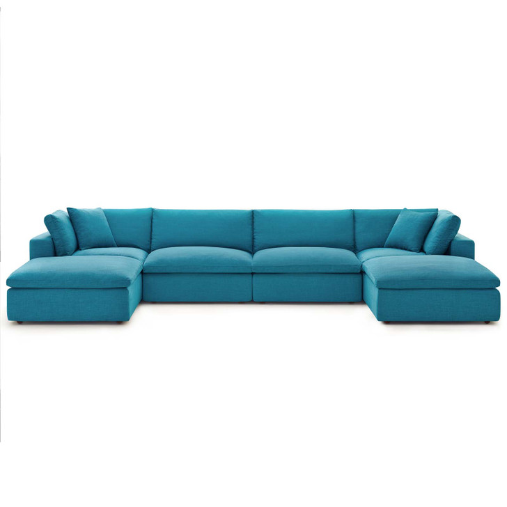Commix Down Filled Overstuffed 6 Piece Sectional Sofa Set, Fabric, Aqua Blue, 17312