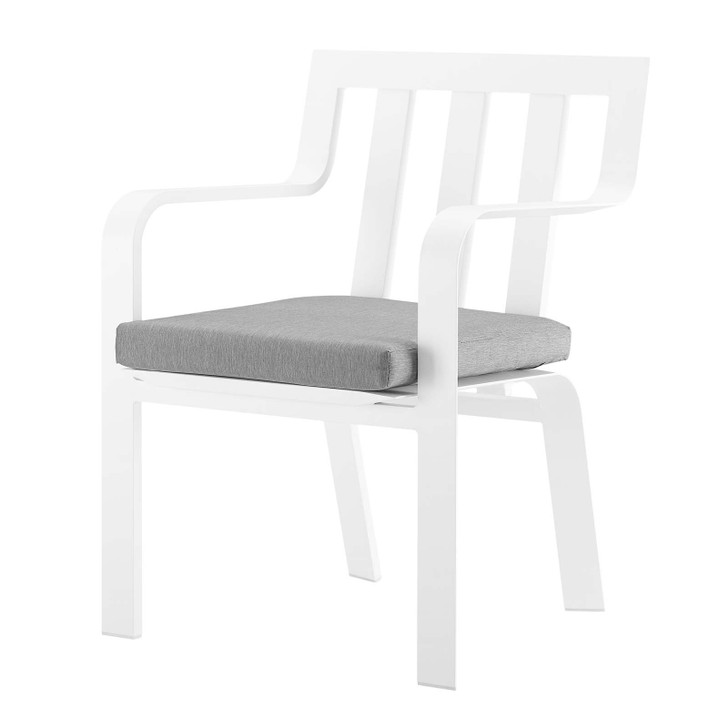 Baxley Stackable Outdoor Patio Aluminum Dining Armchair, Fabric Aluminum, White Grey Gray, 17826