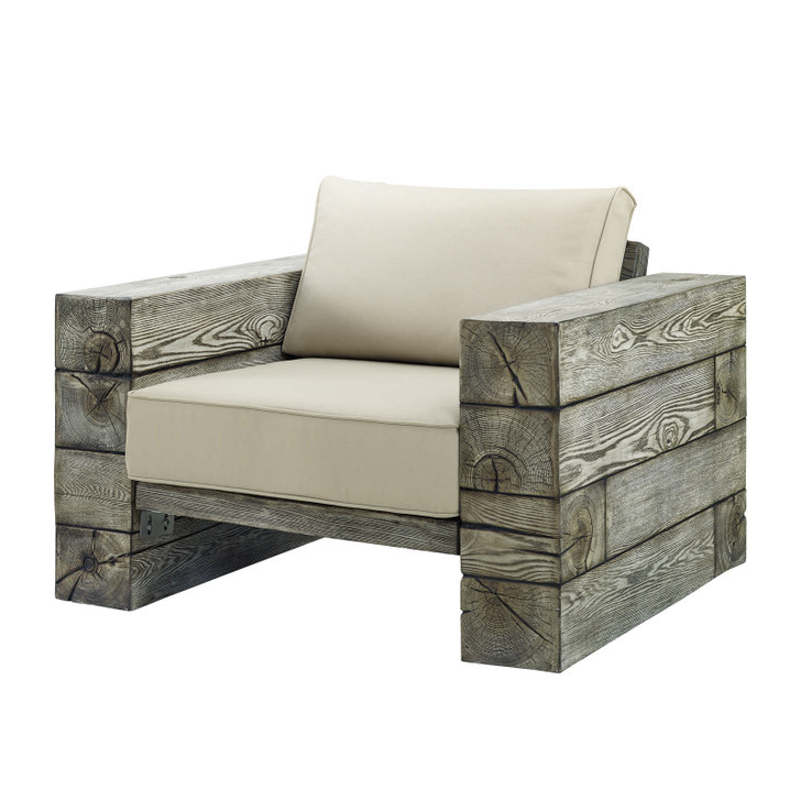 Manteo Rustic Coastal Outdoor Patio Lounge Armchair, Faux Simulate Wood, Beige, 18075