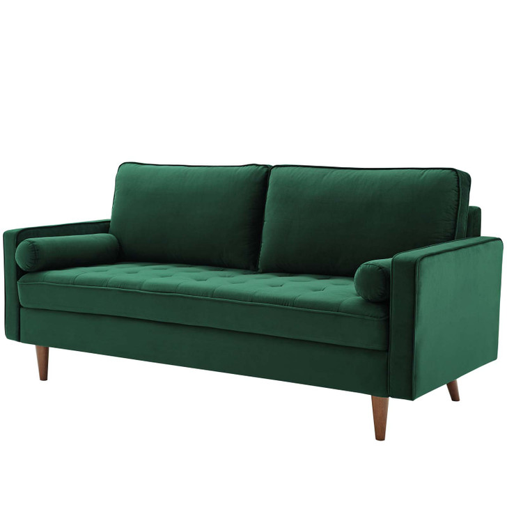 Valour Performance Velvet Sofa, Velvet Fabric, Green, 18080