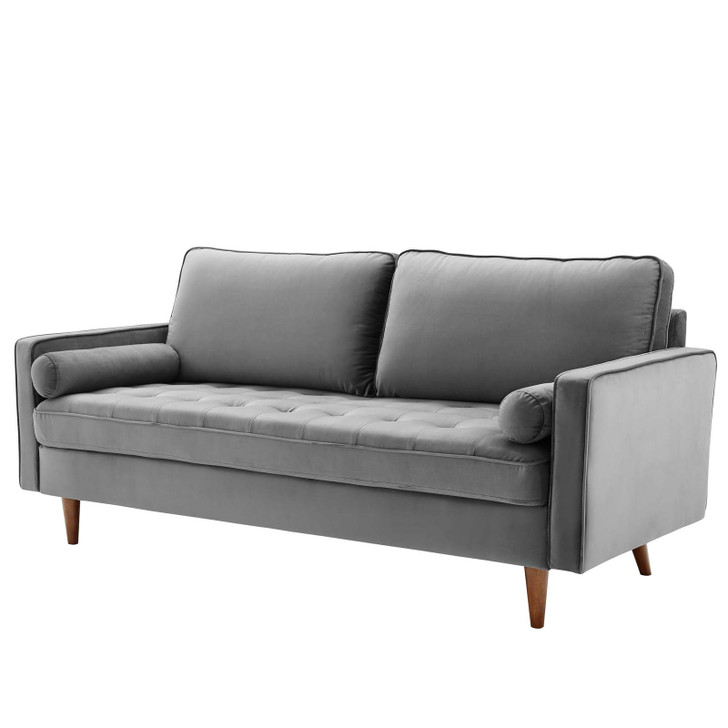 Valour Performance Velvet Sofa, Velvet Fabric, Grey Gray, 18081