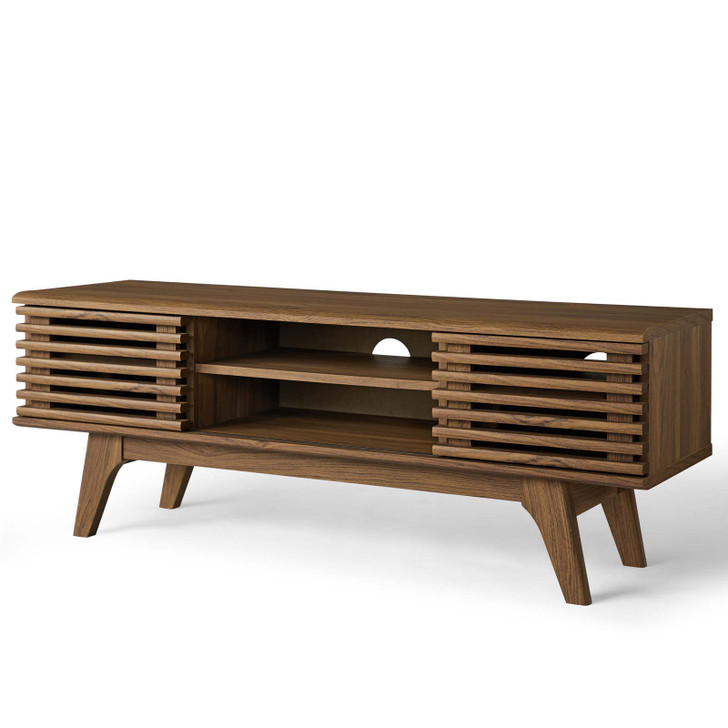 """Render 46"""" Media Console TV Stand, Wood, Natural Walnut Brown, 18084"""