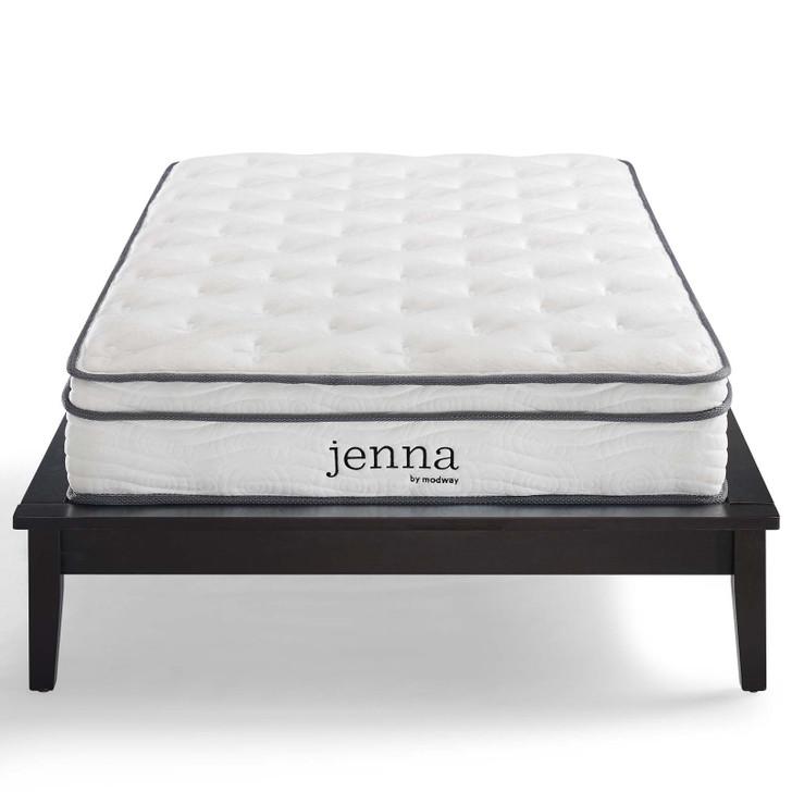 "Jenna 8"" Twin Innerspring Mattress, Fabric, White, 18086"