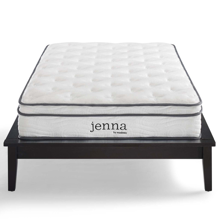 """Jenna 8"""" Queen Innerspring Mattress, Fabric, White, 18088"""