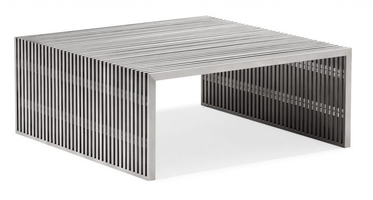 Novel Living Room Square Coffee Table, Silver  Brushed Stainless Steel