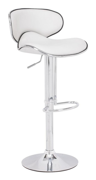 Fly Bar Stool Chair, White Leatherette Chrome Steel