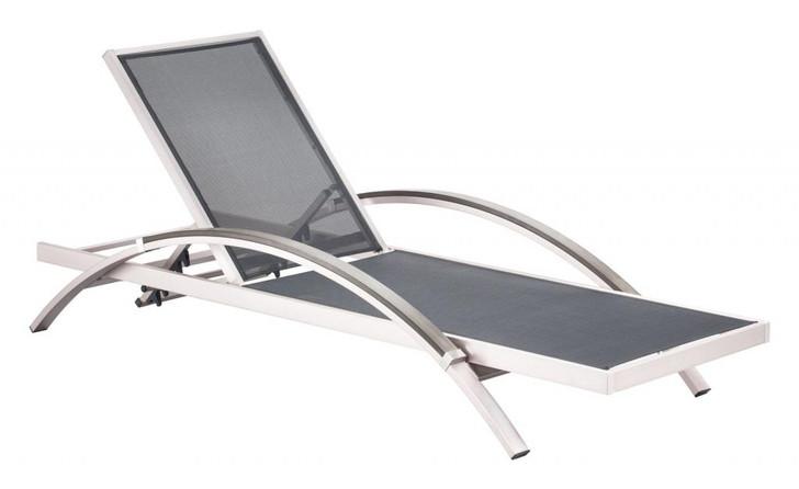 Metropolitan Lounge Chaise, Silver  Brushed Aluminum