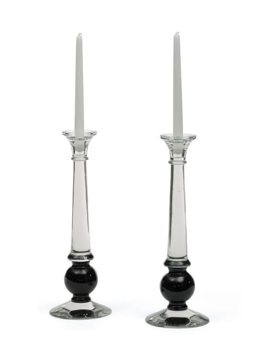 Sylvester Candlesticks ( Set of Two ), Clear Glass