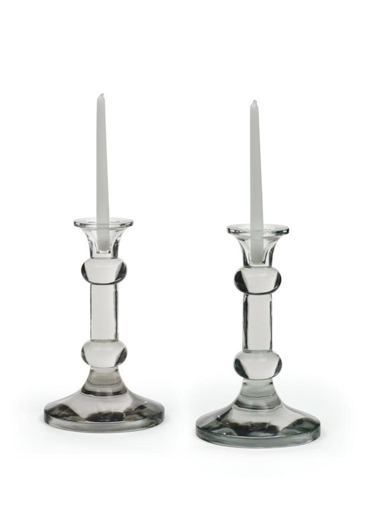 Knobbed Candlesticks ( Set of Two ), Clear Glass