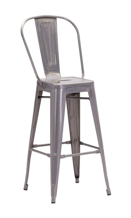 Elio Kitchen Dining Bar Chair, Silver Metal, Set of 2