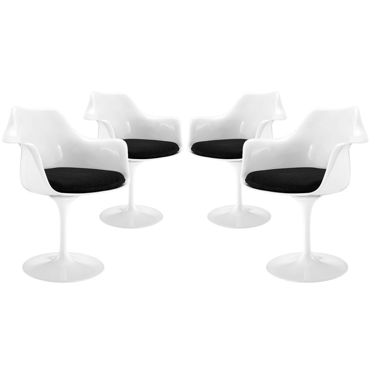 Lippa Dining Armchair Set of 4, Black Plastic