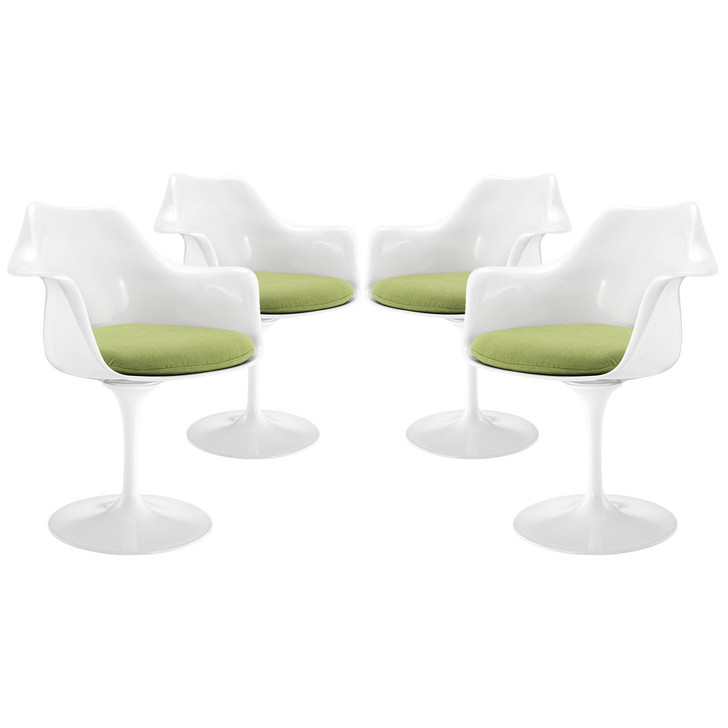 Lippa Dining Armchair Set of 4, Green Plastic