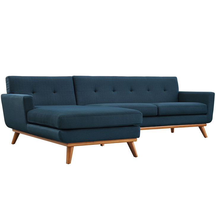 Engage Left-Facing Sectional Sofa, Navy, Fabric