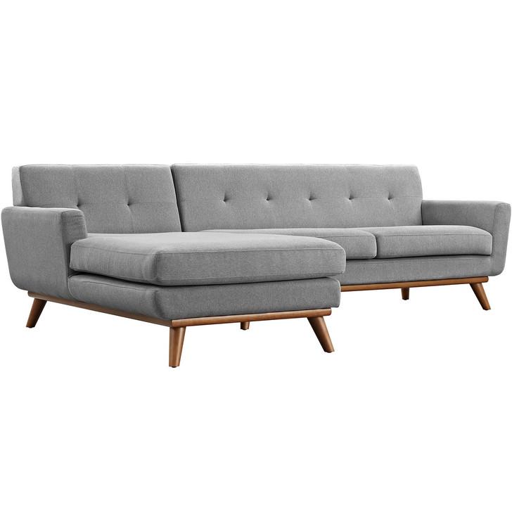 Engage Left-Facing Sectional Sofa, Fabric, Grey
