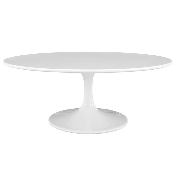 "Lippa 42"" Oval-Shaped Coffee Table in White"