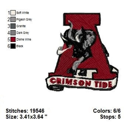 Alabama Crimson Tide Sports Team Machine Embroidery Designs Instant Download