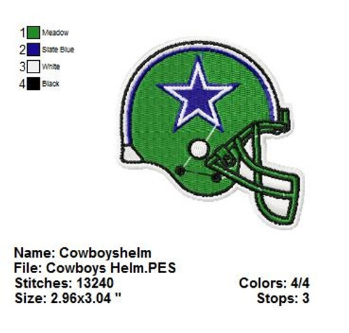 Dallas Cowboys Helmet NFL Sports Team Football Machine Embroidery Designs Instant Download