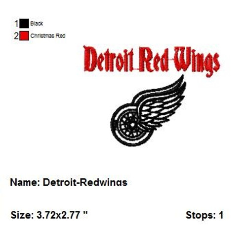Detroit Red Wings NHL Sports Team Football Machine Embroidery Designs Instant Download