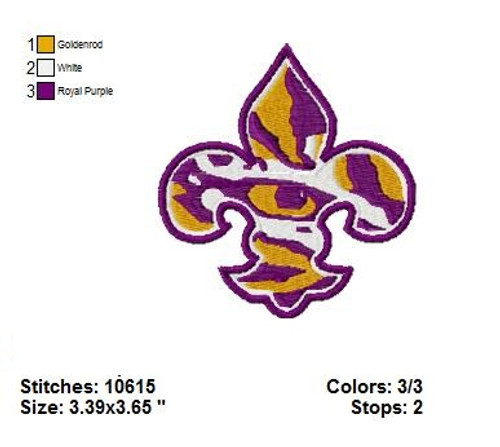 Louisiana State University Sports Team Football Machine Embroidery Designs Instant Download