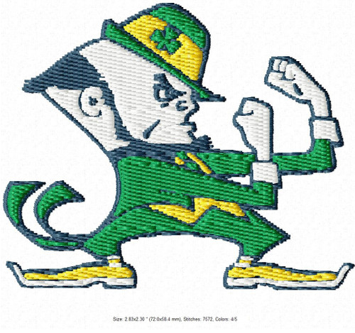 Notre Dame Fighting Irish University Filled Embroidery Designs Instant Download 4x4 hoop