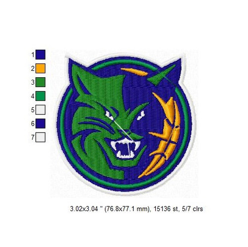 Charlotte Hornets Bobcats NBA Logo Team Sports Embroidery Designs Download