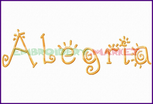 ABC ALEGRIA  Machine Embroidery Designs Fonts Instant Download