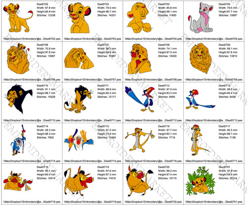 20 LION KING CARTOON  DISNEY EMBROIDERY MACHINE DESIGNS INSTANT DOWNLOAD