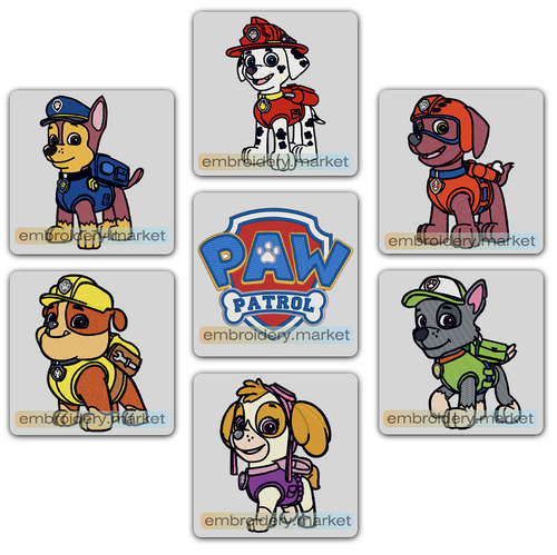PAW PATROL SET OF 28 EMBROIDERY MACHINE DESIGNS INSTANT DOWNLOAD