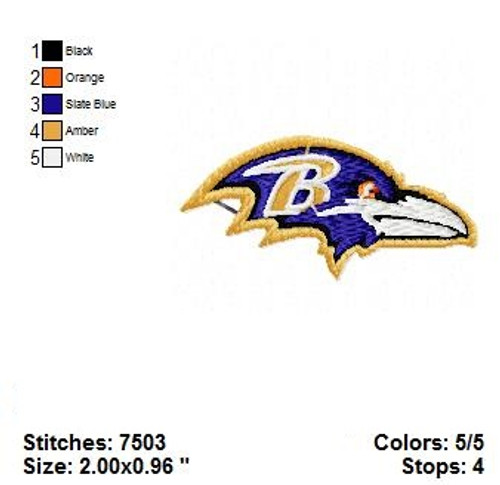 Baltimore Ravens Pro Football NFL Embroidery Designs
