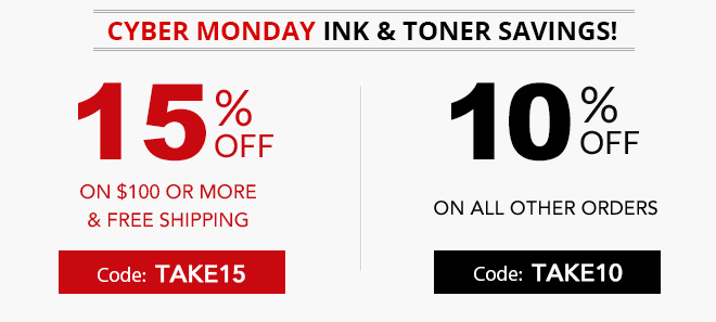 Cyber Monday sale on ink and toner 15% off coupon plus free shipping offer