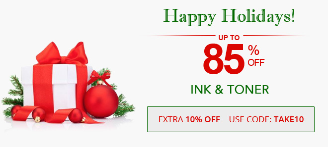 Holiday savings on ink and toner 10% off coupon plus free shipping offer