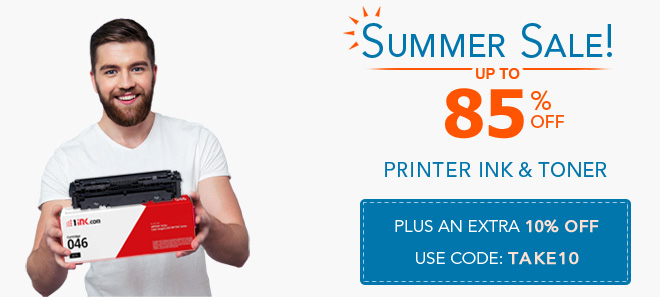 Summer sale on ink and toner 10% off coupon plus free shipping offer