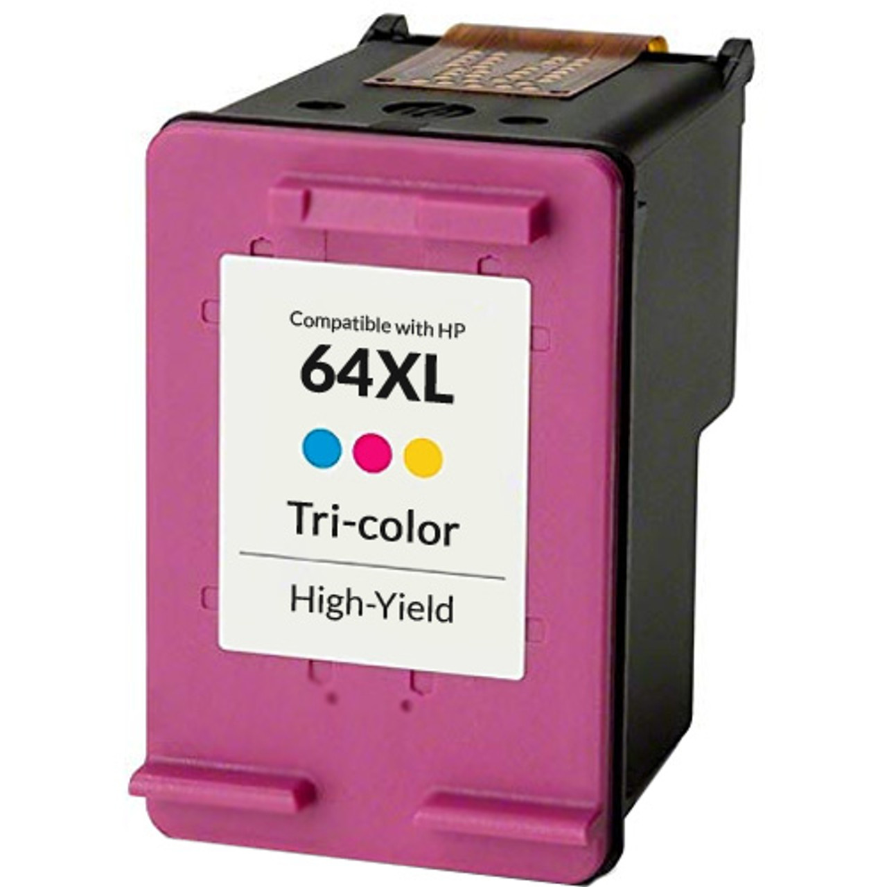 Jumbo: 152-200/% Higher Yield 4-Pack: 2X Black + 2X Tri-Color WORLDS OF CARTRIDGES Remanufactured Ink Cartridge Replacement for HP 64 // 64XL N9J89AN // N9J90AN // N9J90AN // N9J92AN