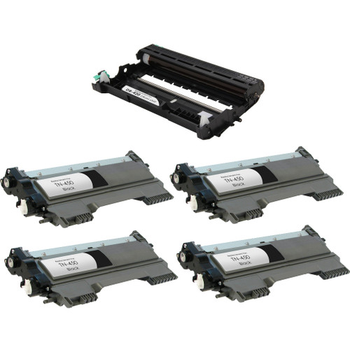 Brother TN450 High Yield Toner Cartridge and DR420 Drum Unit 5 pack
