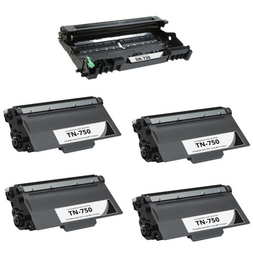 Brother TN750 Toner Cartridge and DR720 Drum Unit replacement, 5-pack