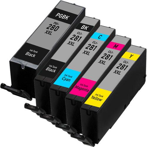 5 Pack - Canon PGI-280 XXL and CLI-281 XXL Super High Yield Ink Cartridges
