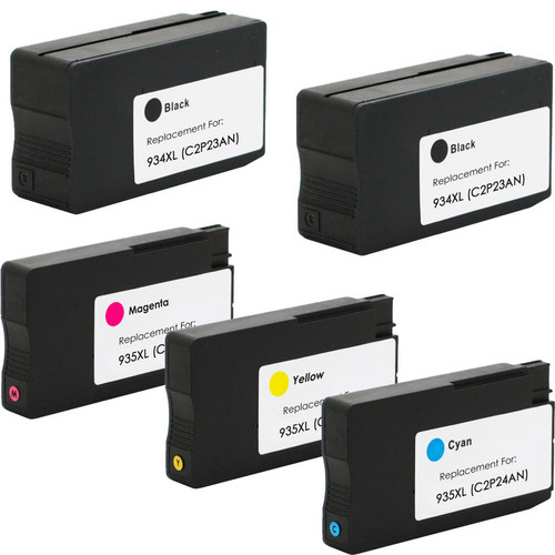 5 Pack - Remanufactured ink cartridge replacement for HP 934XL black and 935XL color