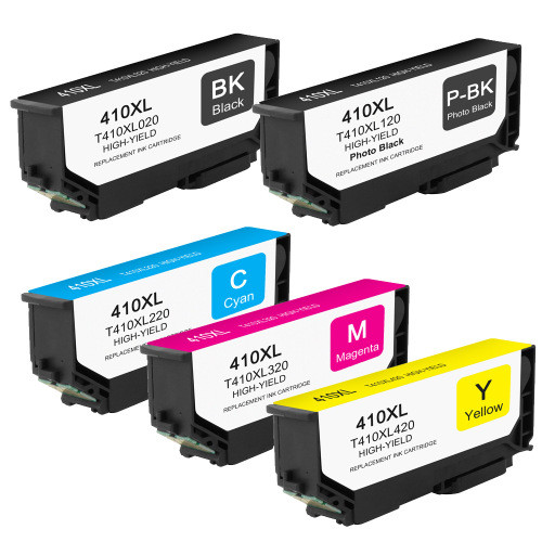 5 Pack - High Yield Epson 410XL Ink Cartridge Set