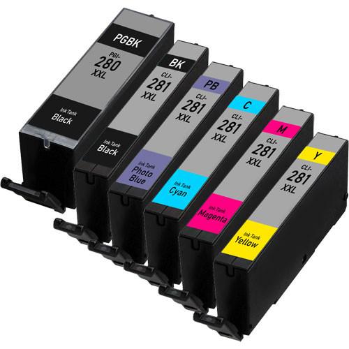 6 Pack - Canon PGI-280 XXL and CLI-281 XXL Super High Yield Ink Cartridges