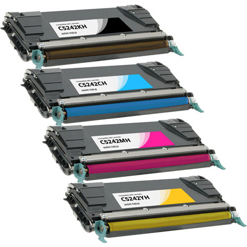 4 Pack - Lexmark C5242 High Yield Black and Color Set