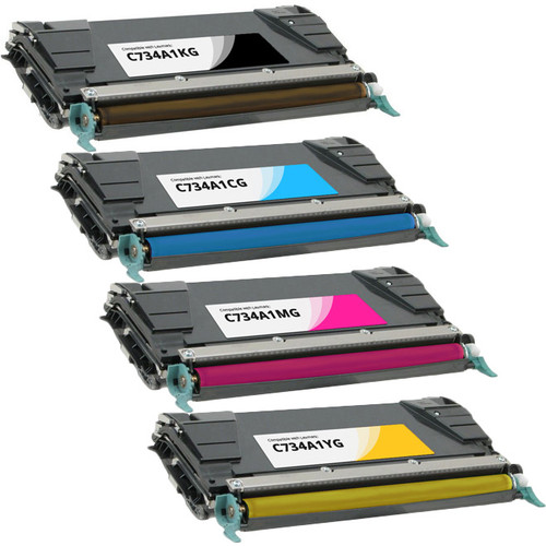 4 Pack - Lexmark C734A1 Toner Cartridge Set