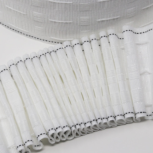 "Pencil pleat curtain heading tape - 3"" deep - corded pocket"