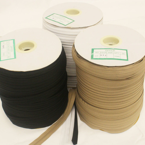 No 3 Continuous zipping in white, black or beige
